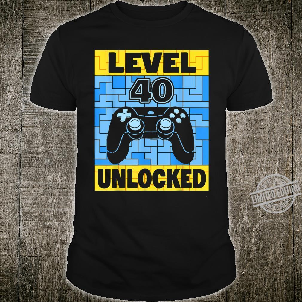 Herren 40 Jahre Mann Geburtstag Geschenk Level 40 Unlocked Shirt