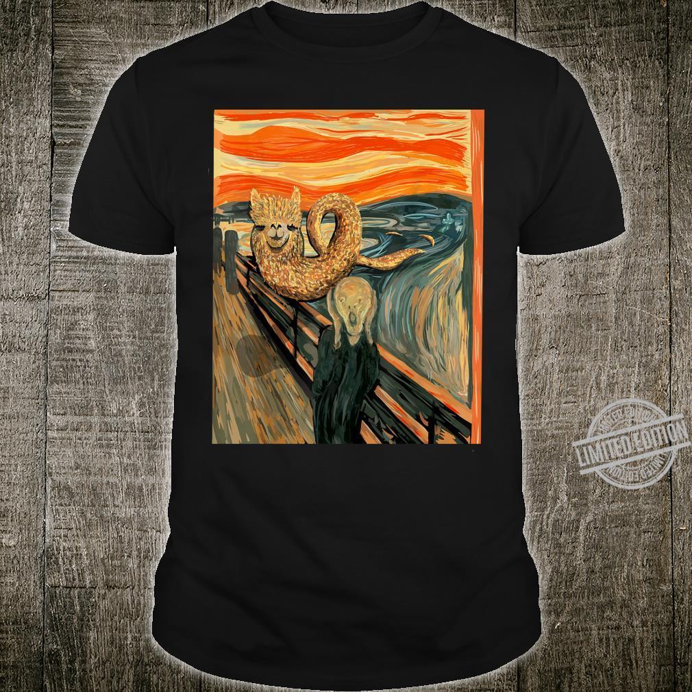 Lustiges Alpaka Loch Ness Monster Das Scream Mashup Cryptid Shirt