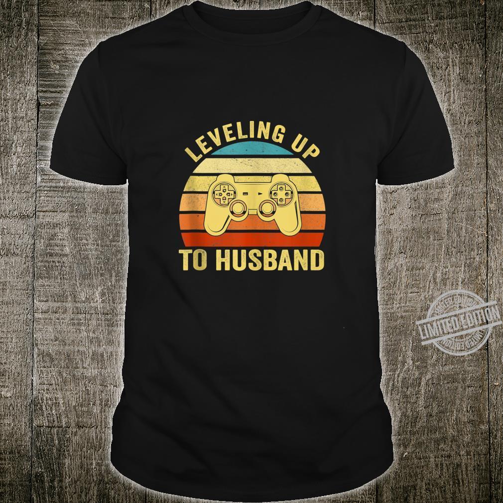 Mens Leveling Up To Husband Engagement Groom Video Games Gamer Shirt