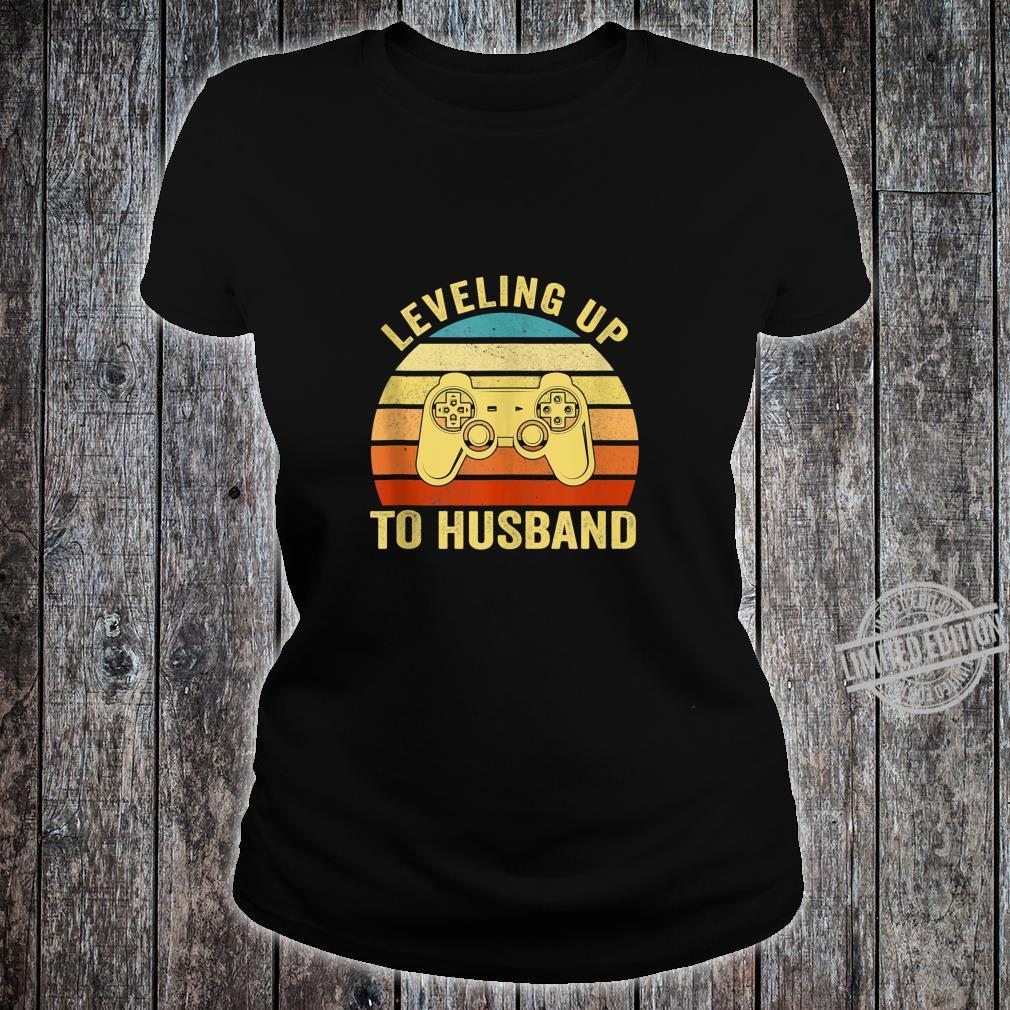 Mens Leveling Up To Husband Engagement Groom Video Games Gamer Shirt ladies tee