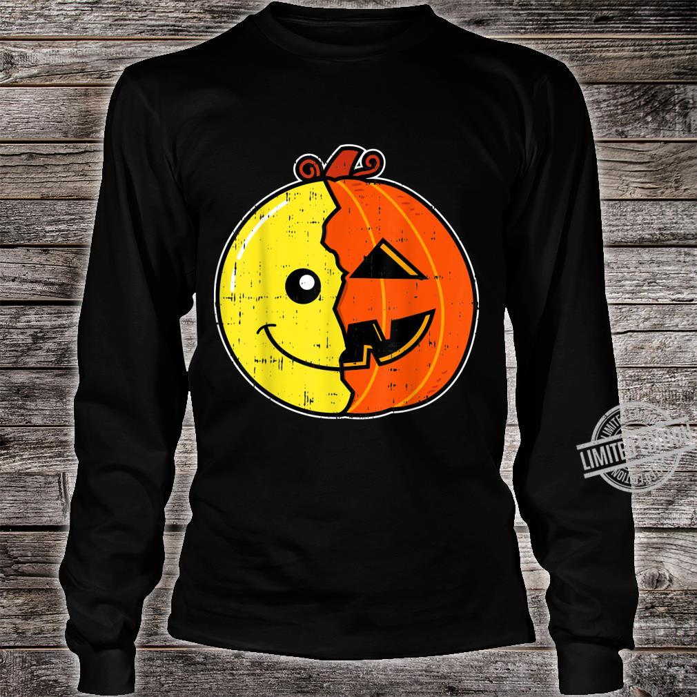 Smiling Face Emoticon Pumpkin Costume Easy Halloween Shirt long sleeved