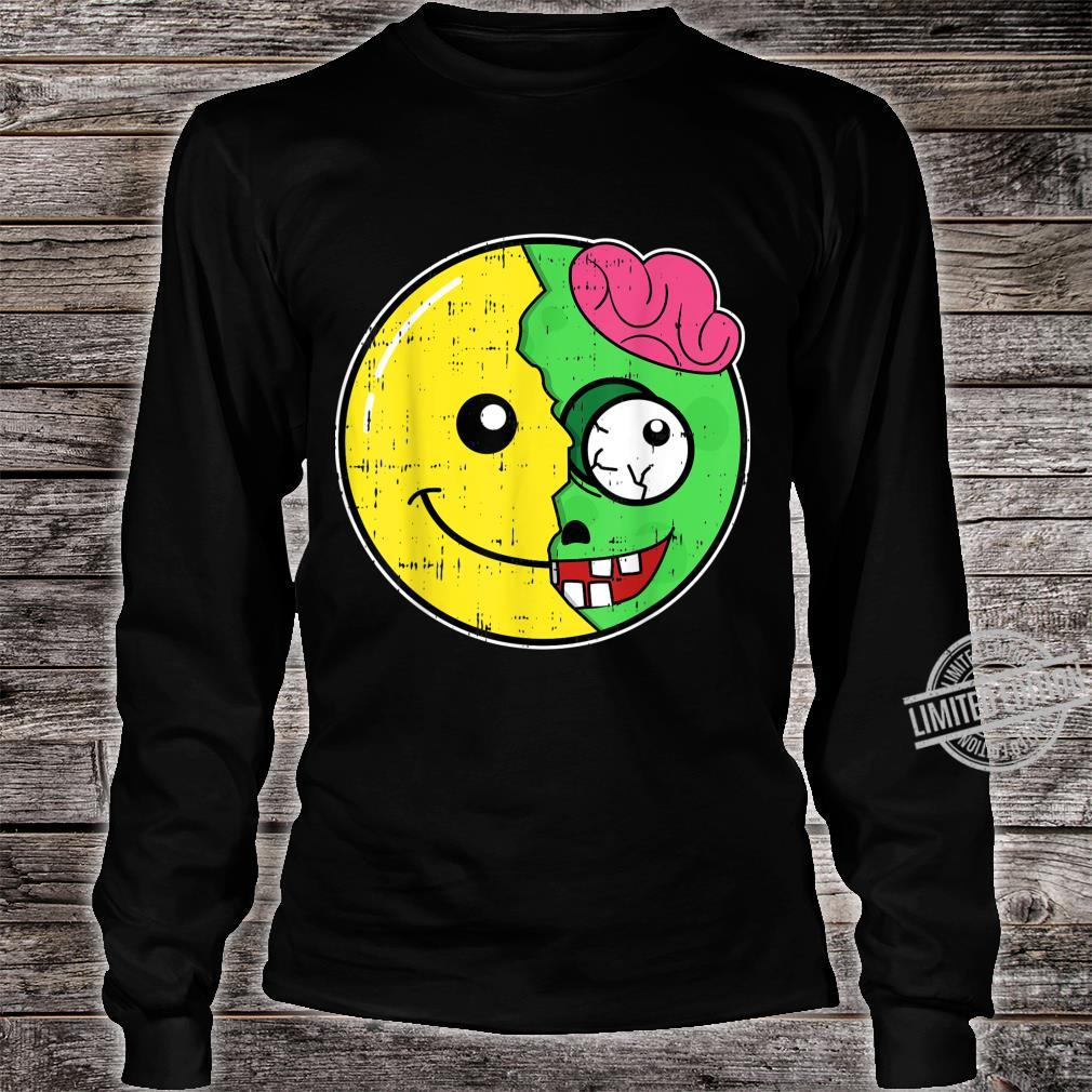 Smiling Face Emoticon Zombie Costume Easy Halloween Shirt long sleeved
