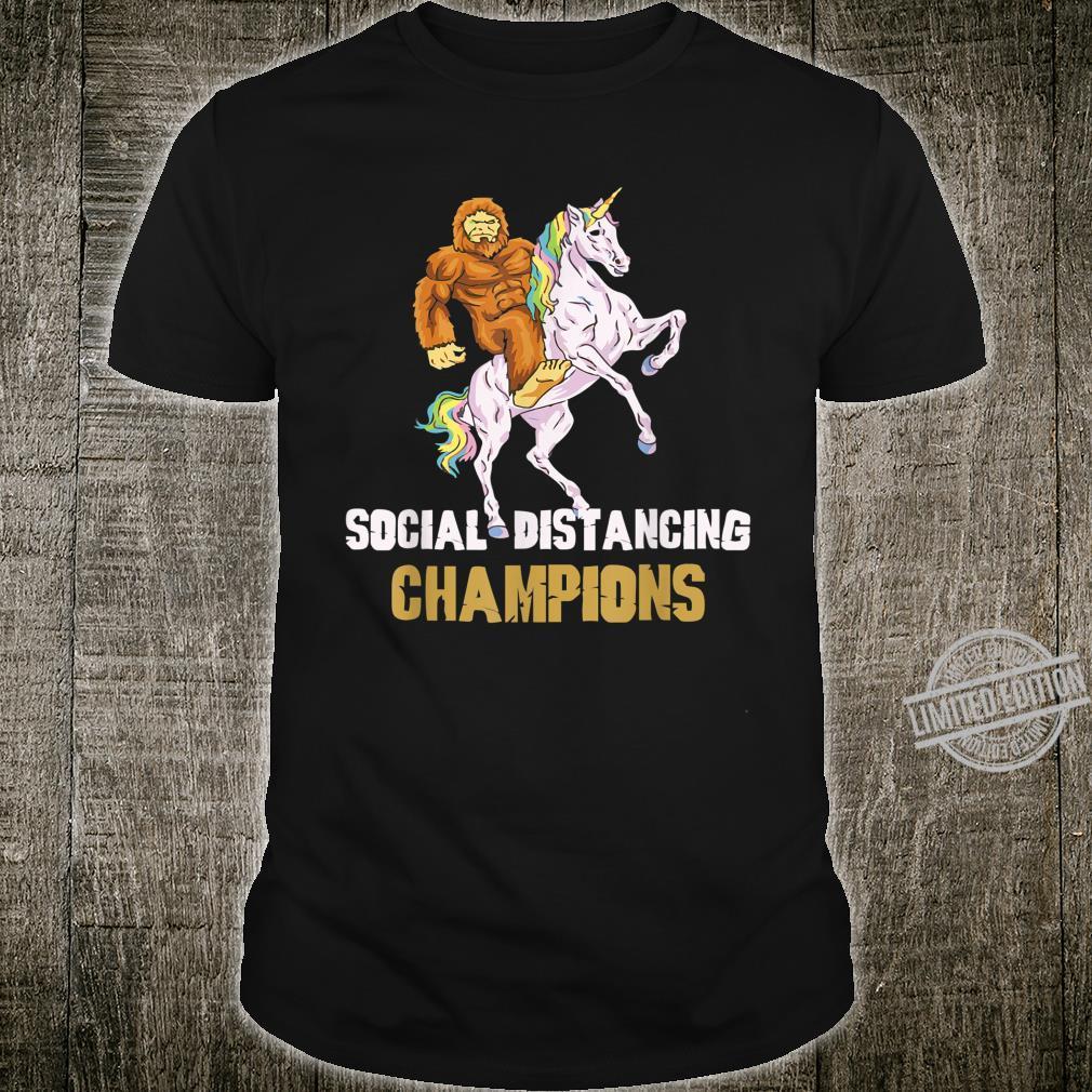 Social Distancing Champions Lustiges BigfootEinhorn Shirt