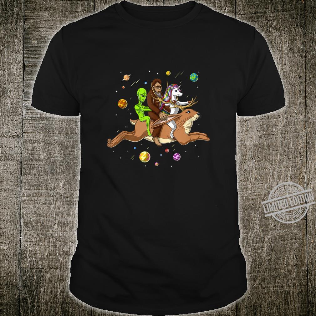Space Alien Bigfoot Unicorn Riding Jackalope Cryptozoology Shirt