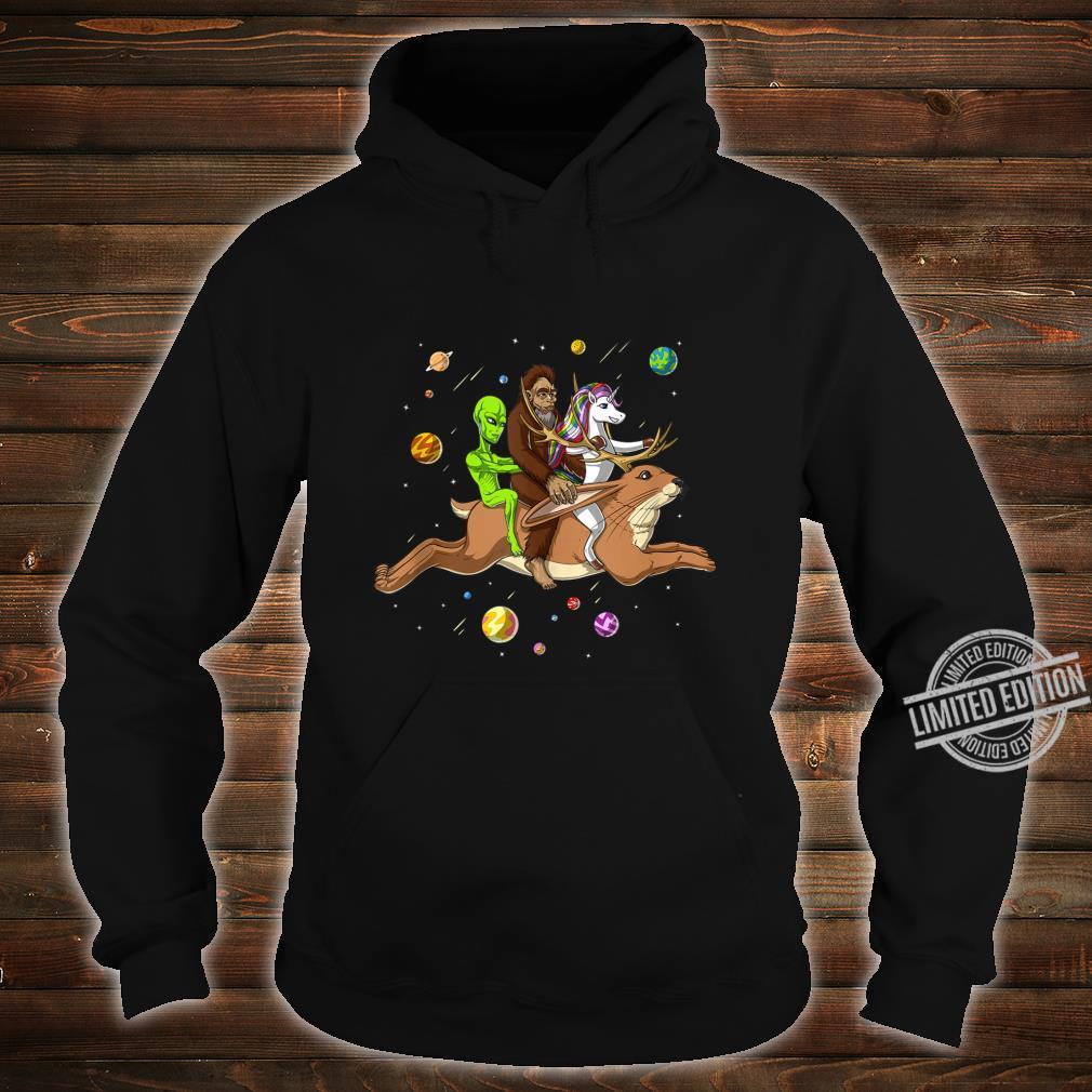 Space Alien Bigfoot Unicorn Riding Jackalope Cryptozoology Shirt hoodie