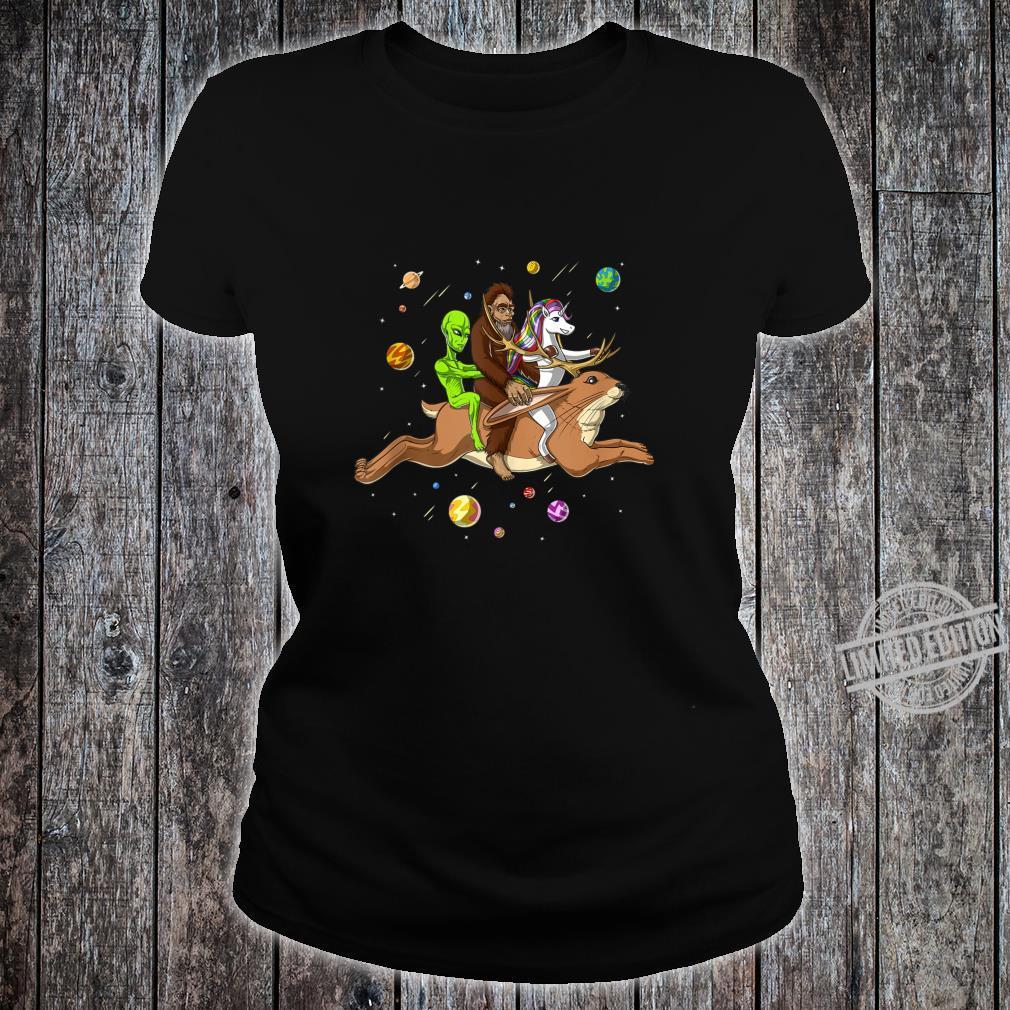 Space Alien Bigfoot Unicorn Riding Jackalope Cryptozoology Shirt ladies tee