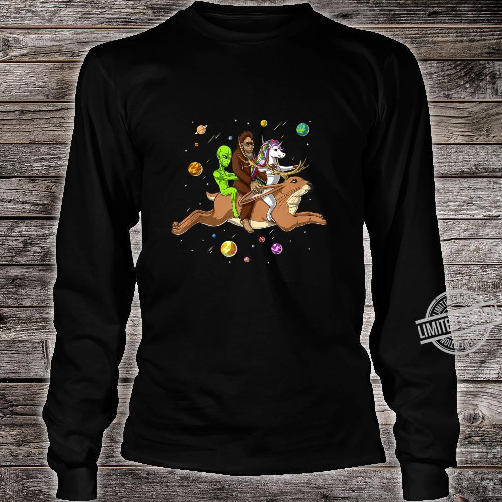 Space Alien Bigfoot Unicorn Riding Jackalope Cryptozoology Shirt long sleeved