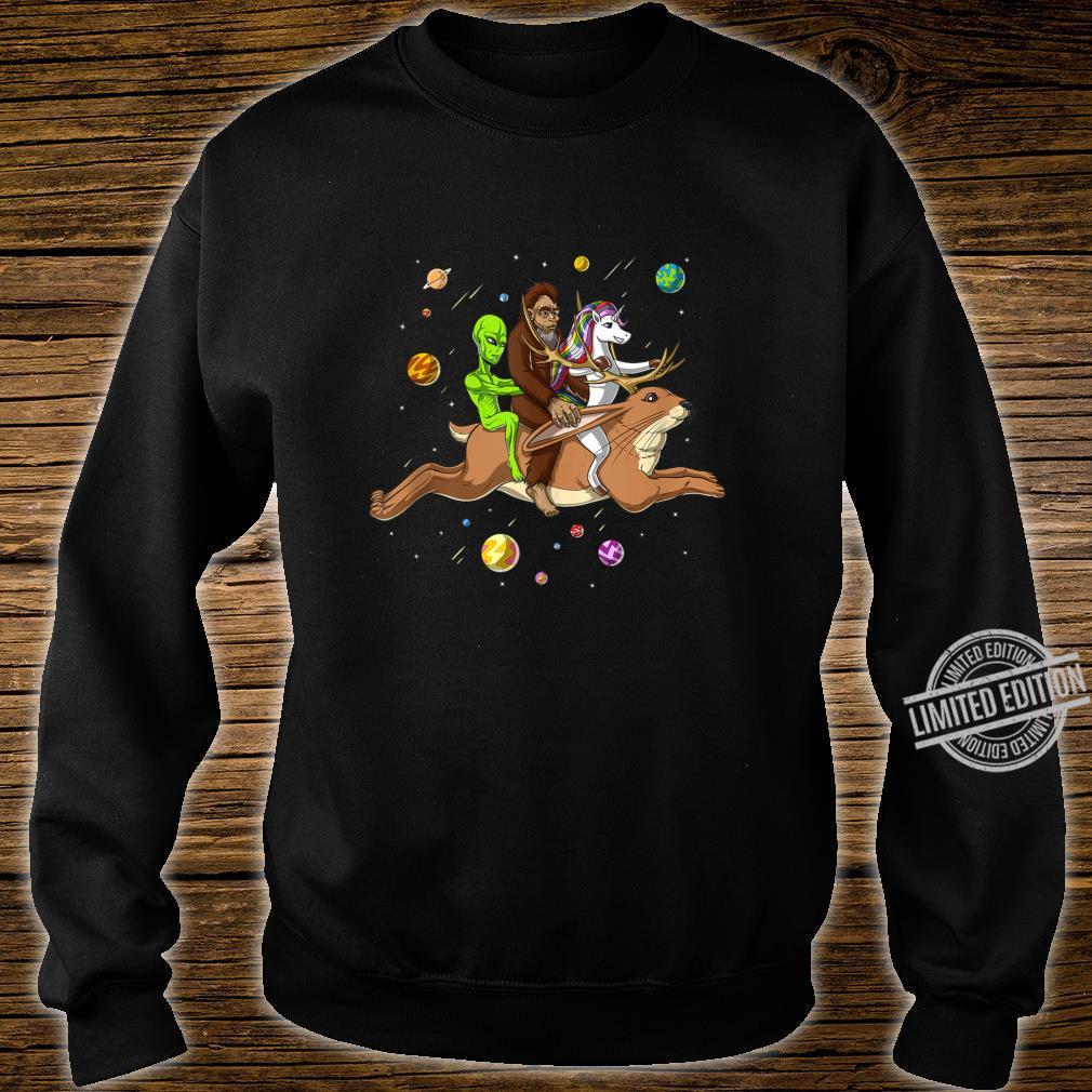 Space Alien Bigfoot Unicorn Riding Jackalope Cryptozoology Shirt sweater