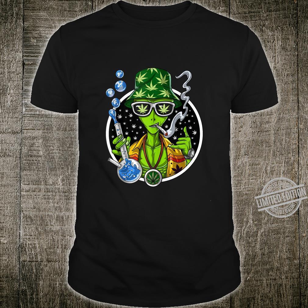 Space Alien Stoner Weed Bong Psychedelic Cannabis Marijuana Shirt