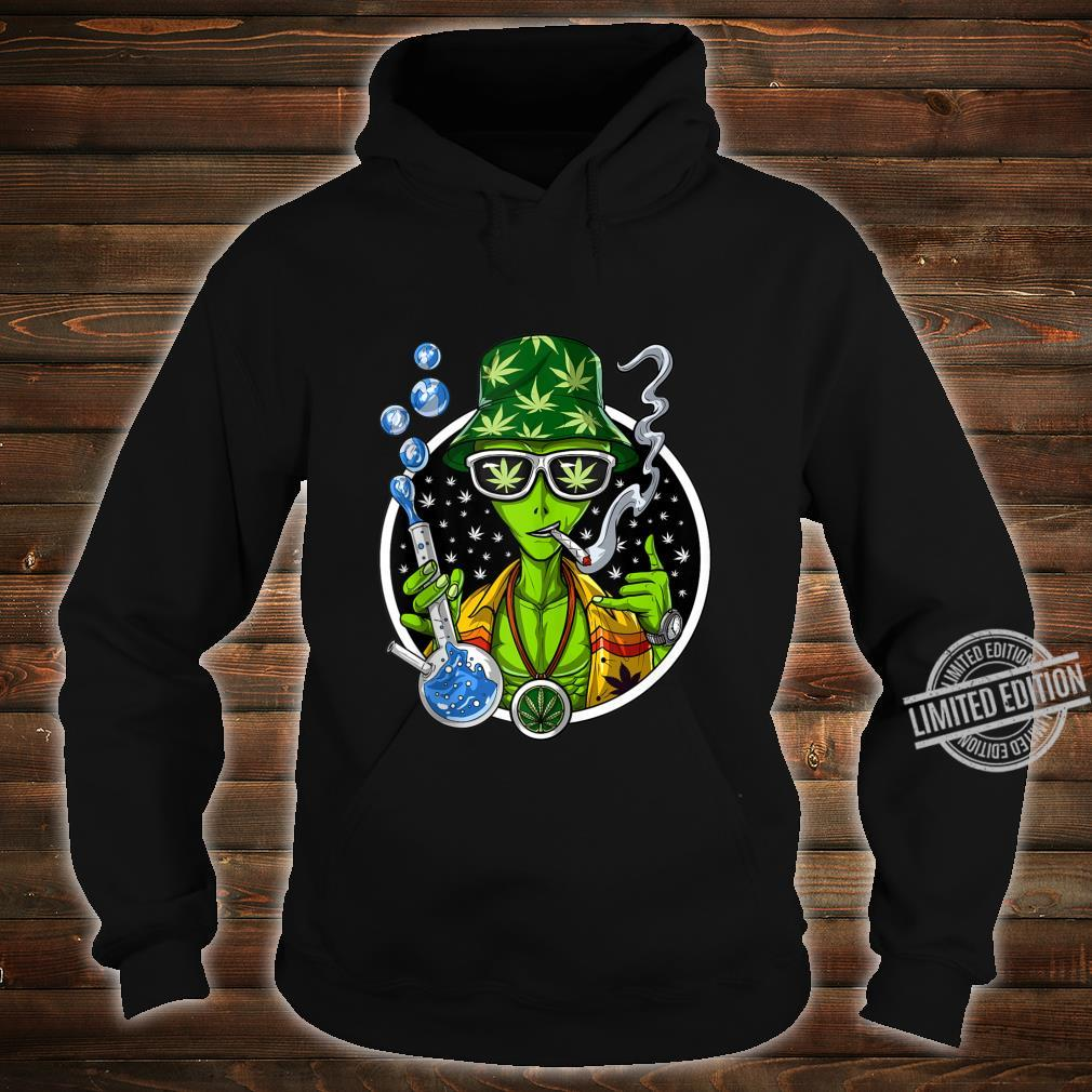 Space Alien Stoner Weed Bong Psychedelic Cannabis Marijuana Shirt hoodie