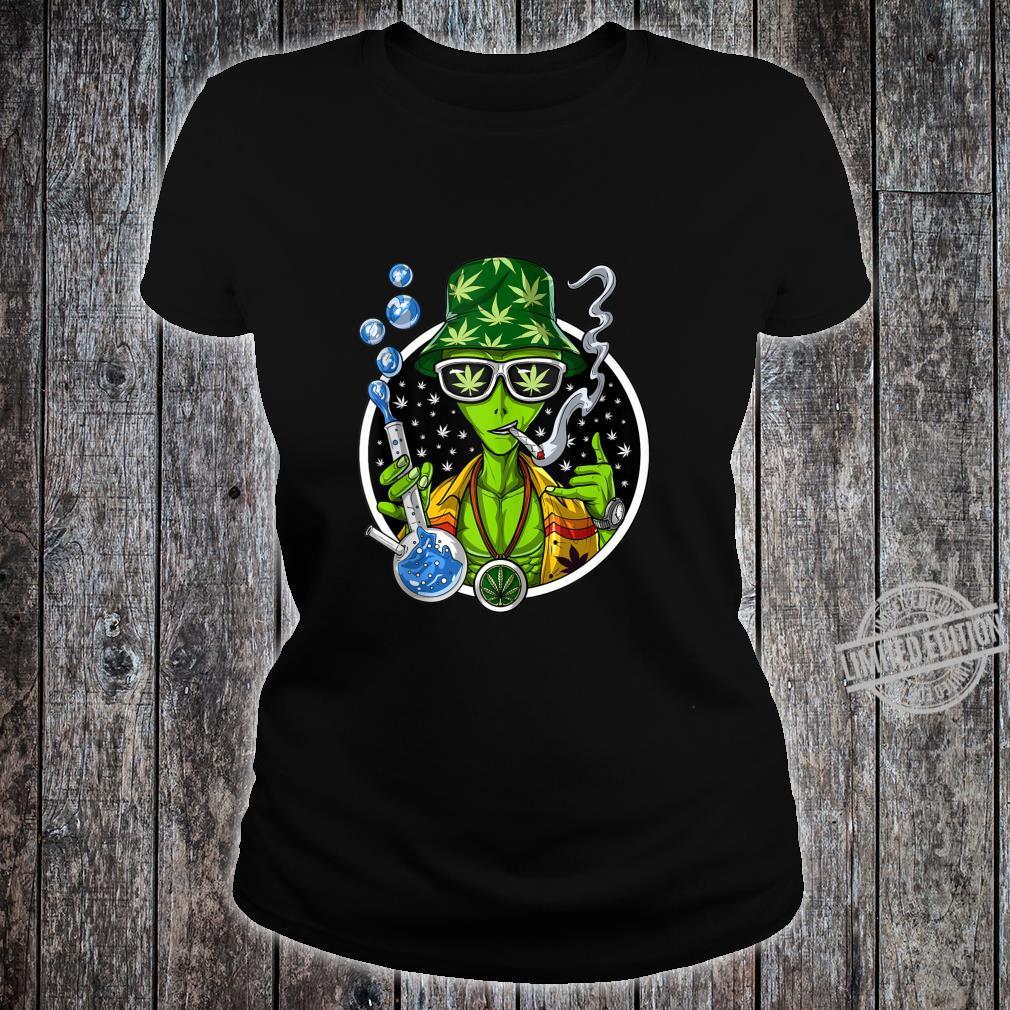 Space Alien Stoner Weed Bong Psychedelic Cannabis Marijuana Shirt ladies tee