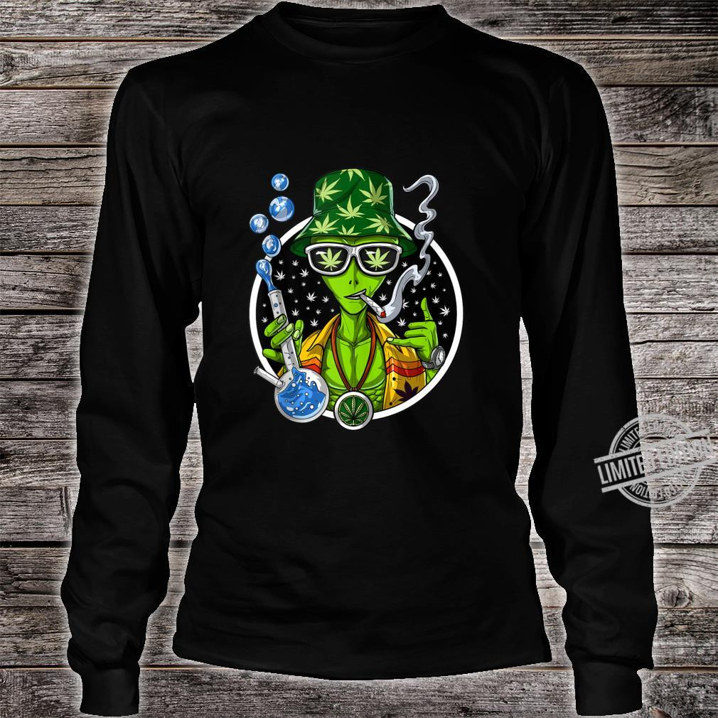 Space Alien Stoner Weed Bong Psychedelic Cannabis Marijuana Shirt long sleeved