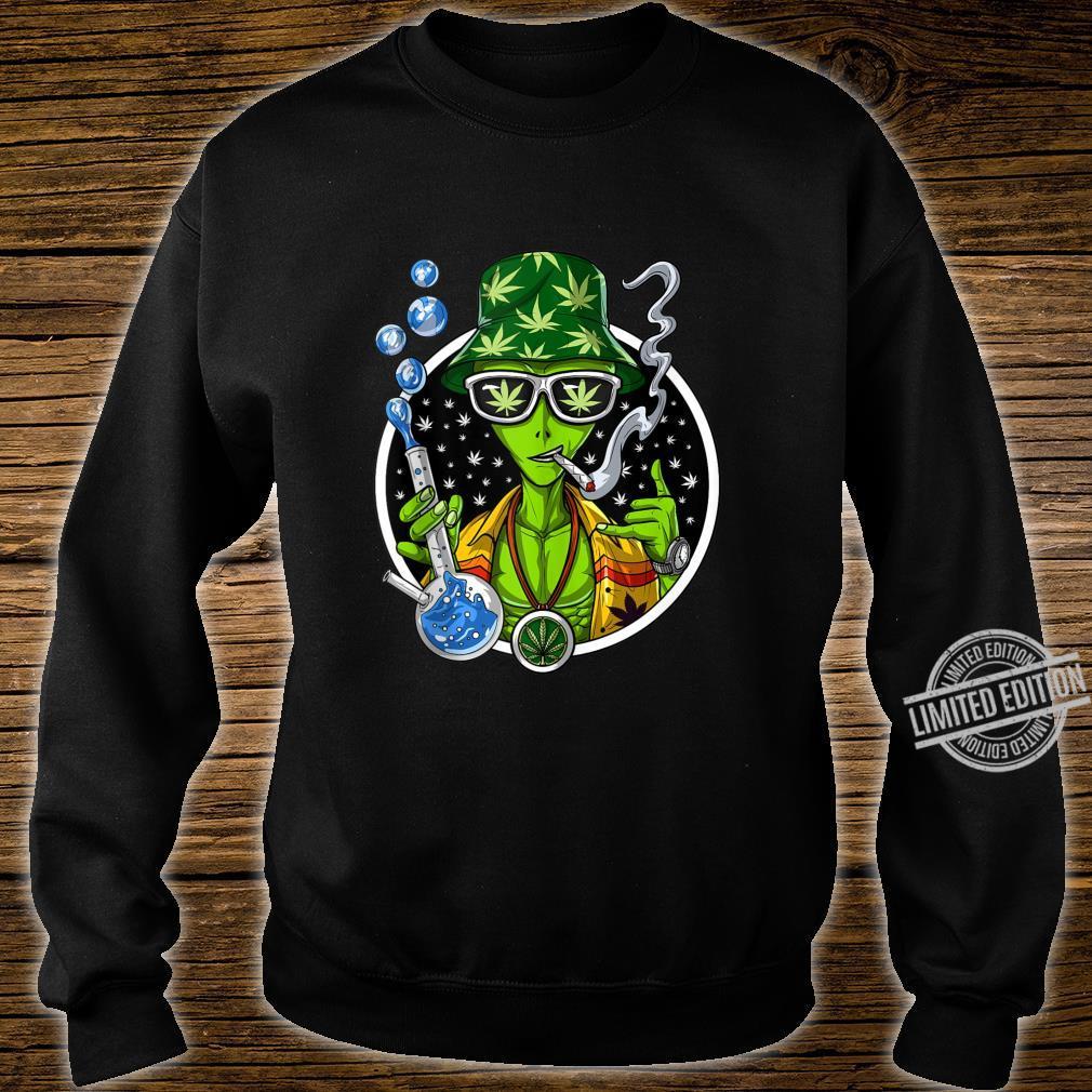 Space Alien Stoner Weed Bong Psychedelic Cannabis Marijuana Shirt sweater