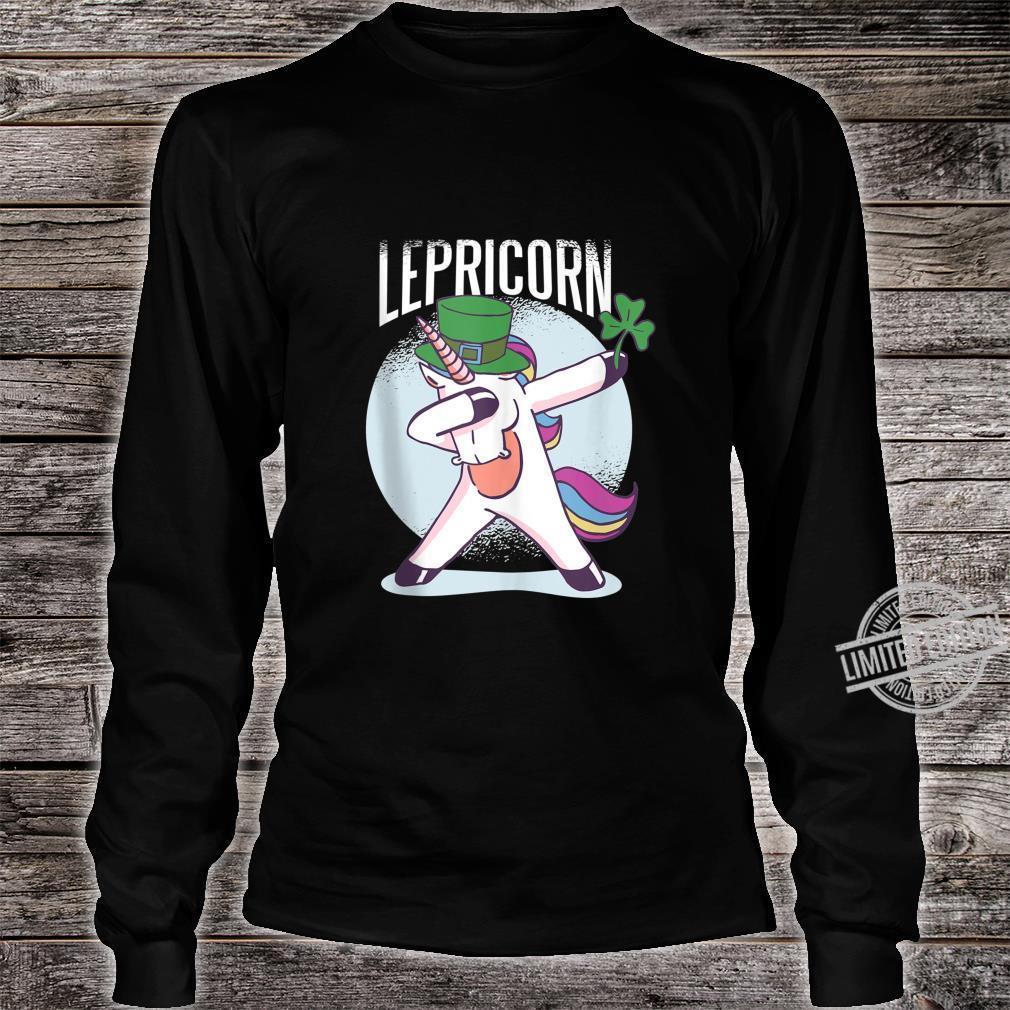 St. Patricks Day Shirt Dabbing Lepricorn Unicorn Leprechaun Shirt long sleeved