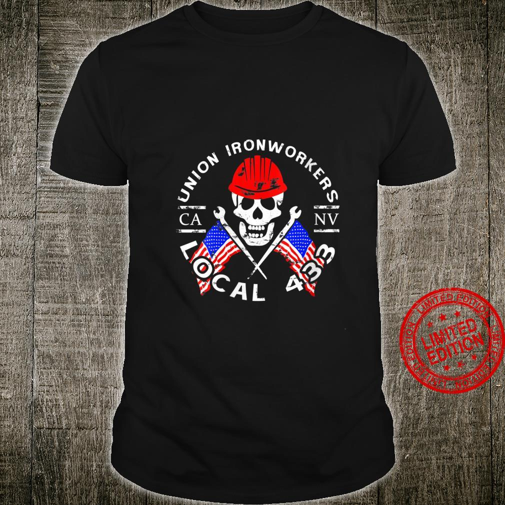Womens Union Ironworkers Local 433 American Flag Spud Hard Hat Shirt